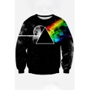 Chic 3D Color Block Galaxy Print Round Neck Long Sleeve Pullover Sweatshirt