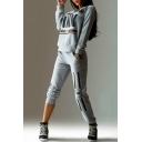 Letter Print Boat Neck Long Sleeve Pullover Sweatshirt with Elastic Waist Pants