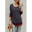 New Fashion Simple Plaid Panel Round Neck Long Sleeve T-Shirt