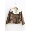 New Fashion Camouglage Pattern Notch Lapel Zip Up Long Sleeve Leather Jacket
