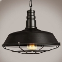Industrial Barn Pendant Light in Retro Style with 18.11''W Metal Cage, Black
