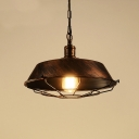 Industrial 18.11''W Barn Pendant Light with Metal Cage in Rust