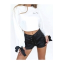 Chic Letter Print Bow Tie Long Sleeve Round Neck Cropped Pullover Sweatshirt