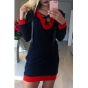 New Stylish Contrast Trim Lace-Up V-Neck Long Sleeve Mini Dress