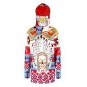 Tribal Skull Geometric Printed Long Sleeve Hoodie with Detachable Veil & Pockets