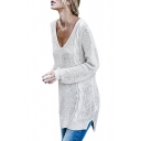 Simple Plain V-Neck Crisscross Back Long Sleeve Sweater