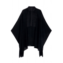 New Stylish Sheer Plain Asymmetric Poncho Blouse