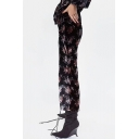 New Stylish Floral Print Elastic Waist Velvet Pants