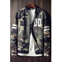Camouflaged Letter Printed Striped Long Sleeve Zip-up Baseball Jacket with Pockets