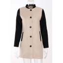 New Fashion Color Block Stand-Up Collar Buttons Down Long Sleeve Woolen Coat