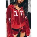 New Stylish Letter Print Drawstring Hood Zipper Long Sleeve Cropped Hoodie