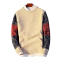 Color Block Round Neck Long Sleeve Pullover Sweater