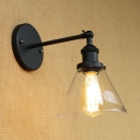 Industrial Wall Sconce with 7.28''W Cone Glass Shade, Black