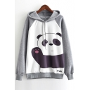 Fashion Color block Panda Print Drawstring Long Sleeve Hoodie