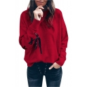 Chic Tie Back Long Sleeve Round Neck Pullover Sweatshirt