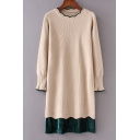 New Stylish Color Block Ruffle Long Sleeve Knitted Dress