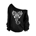 Chic One Shoulder Long Sleeves Elephant Geometric Printed Loose Pullover Sweatshirt