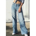 Fashionable Zip Fly Simple Plain Frayed Cuff Wide Leg Jeans