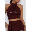 Stylish Halter Neck Grommets Embellished Slim-Fit Zip-Back Cropped Cami with Attached Lacing