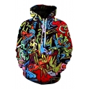 Colorful Oil-Painting Graffiti Pattern Long Sleeves Pullover Hoodie with Pocket