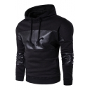 Fashion Faux Leather Panel Drawstring Hood Long Sleeve Leisure Unisex Hoodie