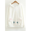 New Stylish Pom Pom Embellished long Sleeve Cute Cat Pattern Hoodie
