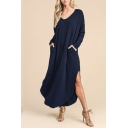 Stylish V-neck Long Sleeve Solid Maxi Dress with Double Pockets