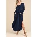Stylish V-neck Long Sleeve Solid Maxi Dress with Double Pockets