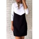 New Stylish Color Block Print Round Neck Leisure Mini Dress