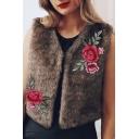 Fashion Embroidery Floral Pattern Open Front Faux Fur Vest Coat
