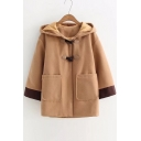 New Stylish Single Breasted Contrast Cuff Hooded Coat