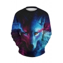 New Fashion Starry Wolf Print Round Neck Long Sleeve Pullover Sweatshirt