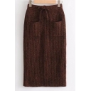 Simple Drawstring Waist Knitted Skirt with Double Pockets