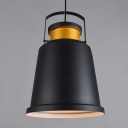 Industrial Pendant Light with 14.17''W Metal Shade, Black