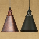 Industrial Pendant Light with 7.28''W Cone Shade, Rust/Black