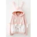 Adorable Bunny Ears Long Sleeve Color Block Hoodie with Pompoms and Bows