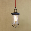 Industrial Pendant Light in Nautical Style with Metal Cage, in Black/Brass
