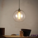 Industrial Simple Ball Hanging Light 1 Bulb Indoor Lighting Fixture with Clear Glass Shade in Black