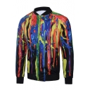 Stand Collar Long Sleeve Oil-Painting Color Block Zippered Baseball Jacket