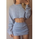 New Stylish Plain Long Sleeve Cropped Sweatshirt Mini Skirt Leisure Co-ords