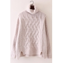Chic Plain Spilt Side Long Sleeve Pullover Sweater