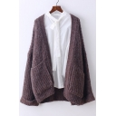 New Fashion Open Front Long Sleeve Loose Cardigan