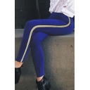 New Fashion Striped Side Elastic Waist Skinny Sports Leggings