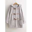 Hot Popular Simple Plain Hooded Single Breasted Long Sleeve Woolen Coat