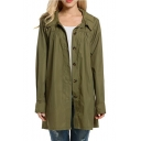 Simple Plain Lapel Buttons Down Long Sleeve Longline Waterproof Raincoat