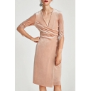 Fashion Wrap Front V-Neck Lace panel Long Sleeve Plain Dress