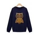 Lovely Owl Print Round Neck Long Sleeve Pullover Sweatshirt