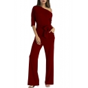Chic One Shoulder Half Sleeves Bow Tied-Waist Wide Legs Pants Plain Jumpsuits
