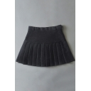 Chic High-Waist Pleated Plain Skirt with Pants Inside