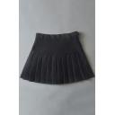 Chic High-Waist Pleated Plain Skirt with Pants Inside